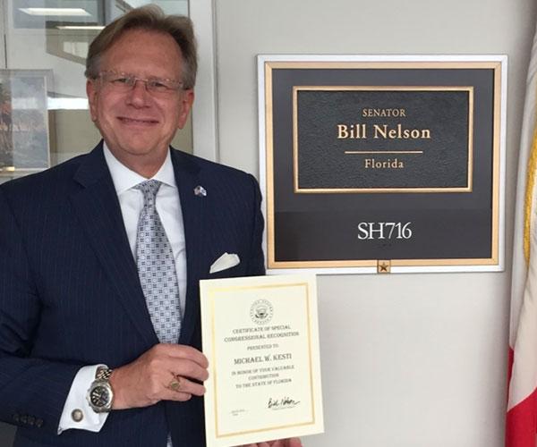 founder outside Bill Nelson's senate office